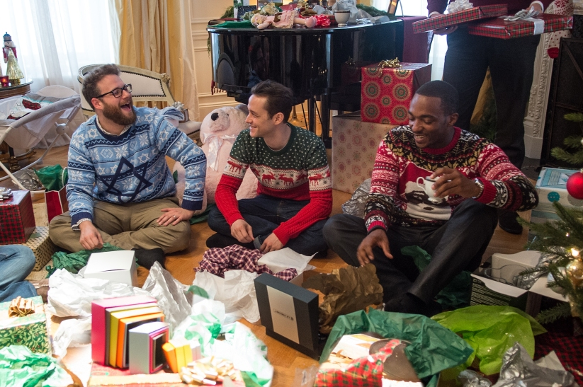 L-r, Seth Rogen, Joseph Gordon-Levitt and Anthony Mackie star in Columbia Pictures'